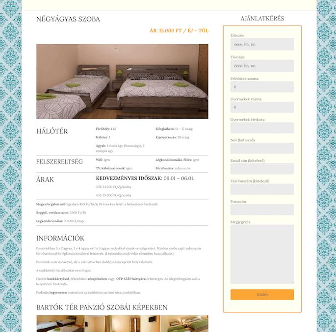 Bartók Tér Panzió weboldala